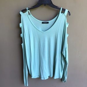 Mint Blue Long Sleeve Top with Shoulder Cutouts